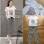 T-Shirt and Lady Ribbon Striped Pants Set thumbnail 1