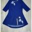 เดรสยีนส์ปักฟอกสีน้ำเงินกระโปรงทรงเอ thumbnail 6