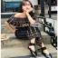 Jumpsuit with Silk Satin Belt Lady Ribbon จัมป์สูทผ้าเครป thumbnail 2