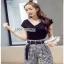 Lady Ribbon Checked Pants Set ขายส่งเสื้อยืด thumbnail 3