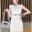 Lady Ribbon Dress with Beige Lining เดรสผ้าลูกไม้สีขาว thumbnail 1
