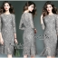 Luxurious Classic Long-sleeves Lace Dress thumbnail 4