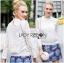 Lady Ribbon Online ขายส่งเสื้อผ้าออนไลน์ ขายส่งของแท้พร้อมส่ง Lady Ribbon LR02050716 &#x1F380 Lady Ribbon's Made &#x1F380 Lady Becca Smart Elegant High-Neck White Lace Blouse thumbnail 1
