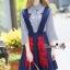 NA12290816 &#x1F389Normal Ally Present Embroidered skirt autumn new collection and striped shirt&#x1F389 (เสื้อเชิตริ้วปักการ์ตูน+ กป.ปักนูนลายกราฟฟิก, มีซับในอย่างดี) thumbnail 3