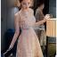 Lady Ribbon Mini Dress มินิเดรสผ้าลูกไม้สีครีมอ่อน thumbnail 4
