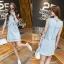 Lady Ribbon Online เสื้อผ้าแฟชั่นออนไลน์ขายส่ง เลดี้ริบบอนของแท้พร้อมส่ง Sevy เสื้อผ้า SV17240716 BEST SELLER-Restock &#x1F389Sevy Matel Hallow Light Blue Mini Denim Dress thumbnail 2