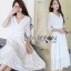 Lady Ribbon Embroidered and Embellished White Crepe Dress thumbnail 2