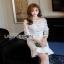 Lady Ribbon Peplum Lace Dress เดรสผ้าลูกไม้สีขาวสไตล์วินเทจ thumbnail 4
