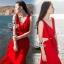 Sevy Ribbon Shoulder Sexy Waist Back Red Hot Maxi Dress thumbnail 1