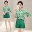 Sevy Two Pieces Of Leaves Blouse With Shorts Sets thumbnail 2