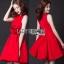 Lady Ribbon Rose Embroidered Dress เดรสคัทเอาท์เอวตกแต่งดอกกุหลาบสีแดง thumbnail 1