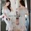 Lady Ribbon Ruffle Lace Dress เดรสชีฟองสีขาว thumbnail 1
