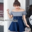 Blue Cotton and Denim Lady Ribbon Dress เดรสผ้าคอตตอน thumbnail 3