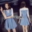 Lady Ribbon Denim Mini Dress ขายมินิเดรสเกาะอก thumbnail 1