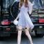 NA11290816 &#x1F389Normal Ally Present blue and white striped decorate southsea white pearl dress&#x1F389 (เดรส , งานแต่งห่วงมุก) thumbnail 6