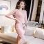 Lady Ribbon Mini Dress เดรสผ้าลูกไม้สีชมพูอ่อนสุดหรู thumbnail 4