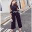 Lady Ribbon Black and White Polkadot Jumpsuit จัมป์สูทผ้าเครป thumbnail 1