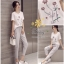 เสื้อผ้าแฟชั่นเกาหลี ผ้าคอตตอนผสมผ้าฝ้าย ปักลายดอกไม้ thumbnail 4