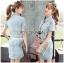 Lady Ribbon Online ขายส่ง เสื้อผ้าออนไลน์ ของแท้ ราคาถูกพร้อมส่ง เลดี้ริบบอน LR09140716 &#x1F380 Lady Ribbon's Made &#x1F380 Chanel White Lace Denim Shirt Dress with Belt thumbnail 1