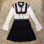 เสื้อผ้าแฟชั่นเกาหลีCliona Winter Black Lace Dress เดรสแขนยาวโทนขาวดำ thumbnail 6