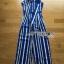 Casual Vibrant Striped Jumpsuit จัมป์สูทขายาวแขนกุดลายทางสีน้ำเงิน thumbnail 8