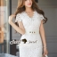 SS08010916 Seoul Secret Say's... V Ivory Lace Dress Material : เนื้อผ้าลูกไม้ปักและฉลุเป็นลายดอกไม้ thumbnail 4