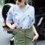 Lady Ribbon Online เสื้อผ้าออนไลน์ขายส่ง Normal Ally เสื้อผ้า NA11150816 &#x1F389Normal Ally Present Pineapple print shirt striped and army tone skirt set&#x1F389 thumbnail 4