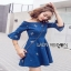 Lady Ribbon Denim Mini Dress ขายมินิเดรส thumbnail 4