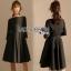 Lady Ribbon Crepe Dress with Black Patent Belt thumbnail 1