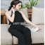 Lady Ribbon Smart Casual Pearl Black Jumpsuit ขายส่งจัมป์สูท thumbnail 4