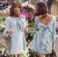 Lady Ribbon Online ขายส่งเสื้อผ้าออนไลน์ Lady Ribbon LR01040816 &#x1F380 Lady Ribbon's Made &#x1F380 Lady Mila Sweet Minimal Back-Ribbon Baby Blue Dress thumbnail 1