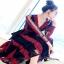Lace Dress เดรสยาวลูกไม้นิ่มแดงดำ thumbnail 3
