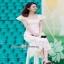 Maxi ผ้าลูกไม้เกาหลีคอเหลี่ยมสีขาว thumbnail 3