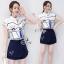 Lady Ribbon Online เสื้อผ้าแฟชั่นออนไลน์ขายส่ง เลดี้ริบบอนของแท้พร้อมส่ง sevy เสื้อผ้า SV02240716 &#x1F389Sevy Two Pieces Of Graphically Shirt With Fisho Embroidered Shorts Sets thumbnail 2