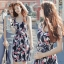 Lady Ribbon ออนไลน์ เสื้อผ้าออนไลน์ พร้อมส่งของแท้ SV05130716 &#x1F389Sevy Printed Flora Hollow Shoulder Straps Sleeveless Mini Dress thumbnail 2