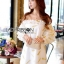 Gold Feather Embroidered Organza Dress เดรสผ้าแก้ว thumbnail 4