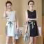 Lady Ribbon ออนไลน์ เสื้อผ้าออนไลน์ พร้อมส่งของแท้ SV04130716 &#x1F389Sevy Sleeveless Color Pleat Side Stripes Mini Dress thumbnail 2