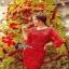 Cliona mini dress สีแดงสด แขน 5 ส่วน thumbnail 2