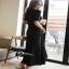 cliona Long dress สีดำแขนสั้นผ้ายืดหยุ่น thumbnail 2