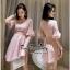 เดรสเกาหลีชุดสีชมพูคอวี thumbnail 1