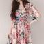 Lady Ribbon Online ขายส่ง เสื้อผ้าออนไลน์ ของแท้ ราคาถูกพร้อมส่ง เลดี้ริบบอน LR04140716 &#x1F380 Lady Ribbon's Made &#x1F380 Gucci Sweet Natural Floral Printed Pink Dress thumbnail 4