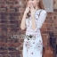 Lady Ribbon Online เสื้อผ้าออนไลน์ขายส่ง Lady Ribbon เสื้อผ้า LR03180816 &#x1F380 Lady Ribbon's Made &#x1F380 Lady Serena Smart Feminine Embroidered Cotton Dress thumbnail 4