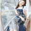 Lady Ribbon Tanya White T-Shirt Denim and Lace Overall Dress เอี้ยมยีนส์เสื้อยืด thumbnail 2