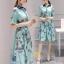 เสื้อผ้าแฟชั่นเกาหลี ชุดเดรสแฟชั่นผ้าไหมอิตาลี่ เนื้อผ้าสวยเงามีซิบ thumbnail 4