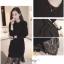 ชุดเดรสแฟชั่นสีดำ เสื้อผ้าเนื้อแน่นถักดี thumbnail 1