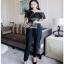 Black Lace Frill Lady Ribbon Jumpsuit จัมป์สูท thumbnail 3
