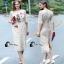 เสื้อผ้าแฟชั่นเกาหลีCliona Cat Lace Long Dress - เดรสลูกไม้สีครีม thumbnail 1