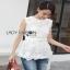 Lady Ribbon White Lace Top with Belt ขายเสื้อแขนกุด thumbnail 2