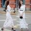 H G เสื้อผ้า ชุดเดรสแฟชั่นเกาหลีสีขาวคอกลม thumbnail 1