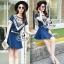 Lady Ribbon Online ขายส่งเสื้อผ้าออนไลน์ เสื้อผ้า Sevy SV01030816 &#x1F389Sevy Two Pieces Of Triangle Scarf Denim Sets Type: Blouse+Shorts(Sets) Fabric: Denim+Cotton Detail: thumbnail 4